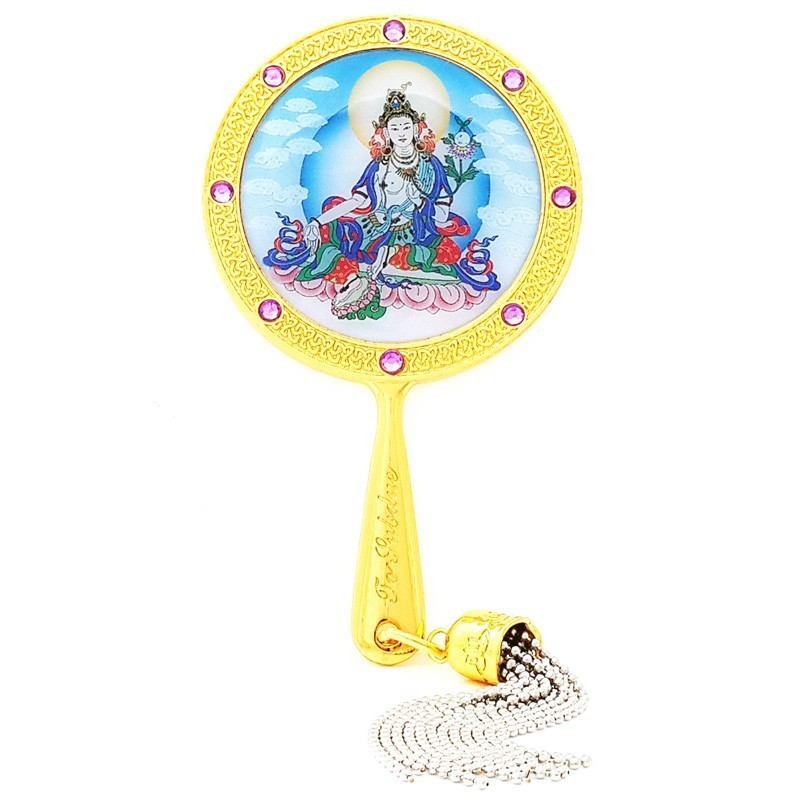 White Tara Mirror Amulet for Pacifying Illness and Anger
