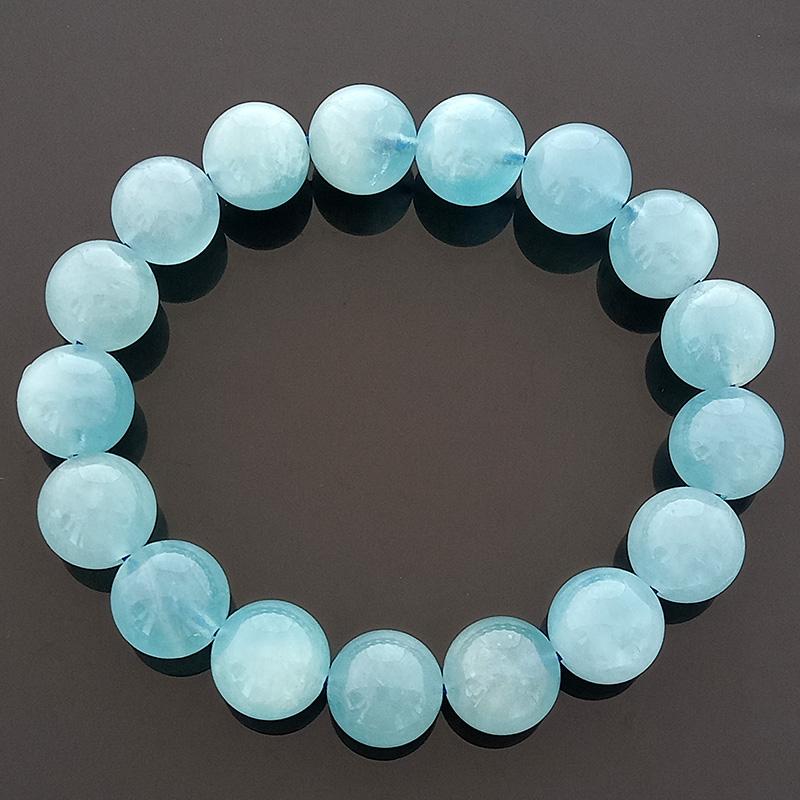 Natural Aquamarine Feng Shui Crystal Stretch Bracelet