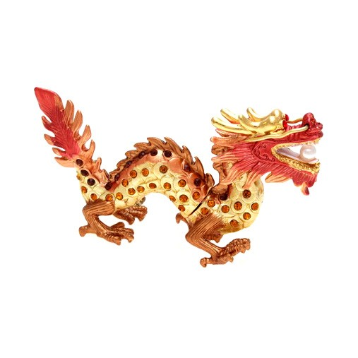 Bejeweled Auspicious Golden Dragon For Good Fortune
