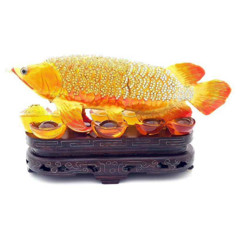 Bejeweled GOLDEN Arowana for Abundance and Prosperity