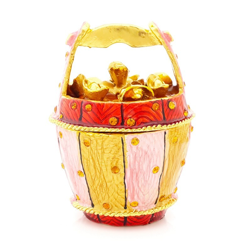 Bejeweled Overloaded Golden Wealth Bucket for Prosperity and Good Fortune