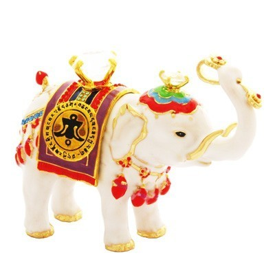 Bejeweled White Elephant Carrying Jewel and Ru Yi