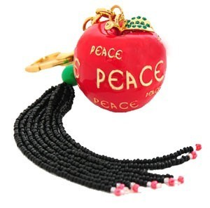 Bejewelled Apple Peace Keychain