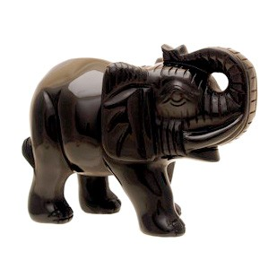 Black Obsidian Elephant with rising trunk