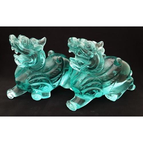 A Pair of Blue Obsidian Flying Pi Yao - Large