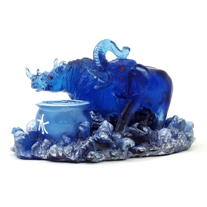 Feng Shui Blue Elephant and Rhinoceros for Power and Protection