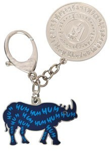 Blue Rhinoceros and Elephant with Amulet Keychain