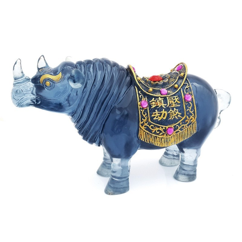 Feng Shui Sculpture Blue Rhinoceros Statue for Protection