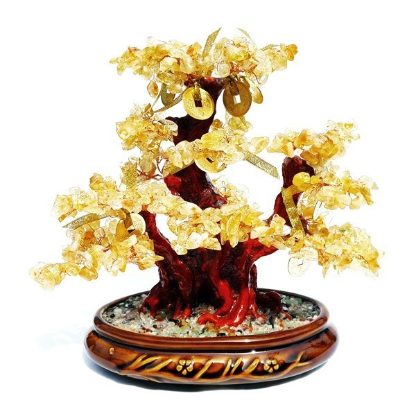 Feng Shui Bonsai Citrine Crystal Gemstone Tree with 8 GOLD Coins