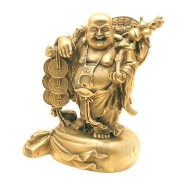 Bronze Laughing Buddha Holding A Ru Yi