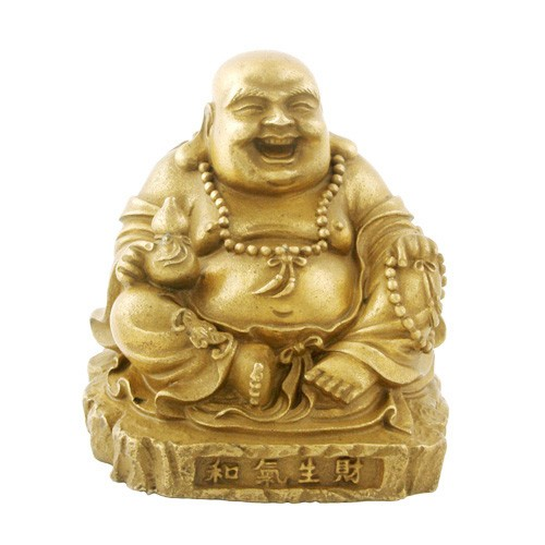 Bronze Laughing Buddha Holding A Wulou