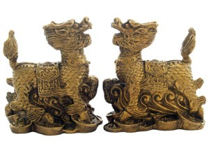 A Pair of Standing Chi Lin
