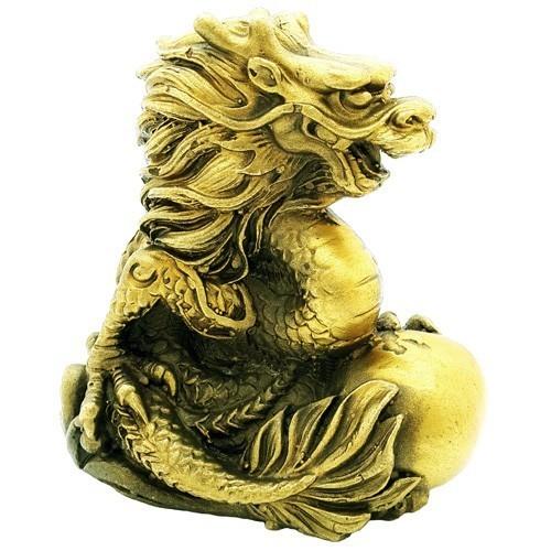 Bronze Auspicious Dragon Grasping a Pearl
