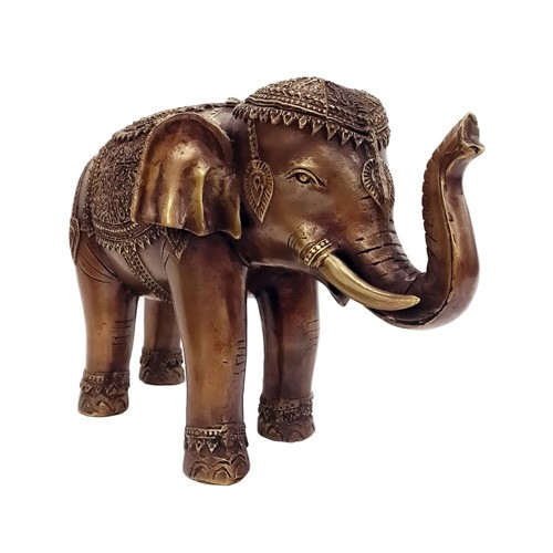 Feng Shui Sculpture Elephant Bronze Statue with Rising Trunk