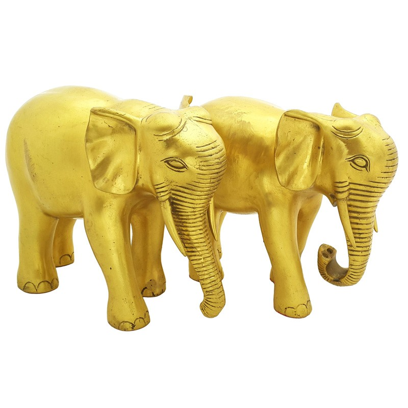 A Pair of FENG SHUI Bronze Elephants with Trunks downward