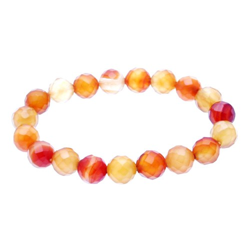 Natural Faceted Carnelian Bracelet for Happiness