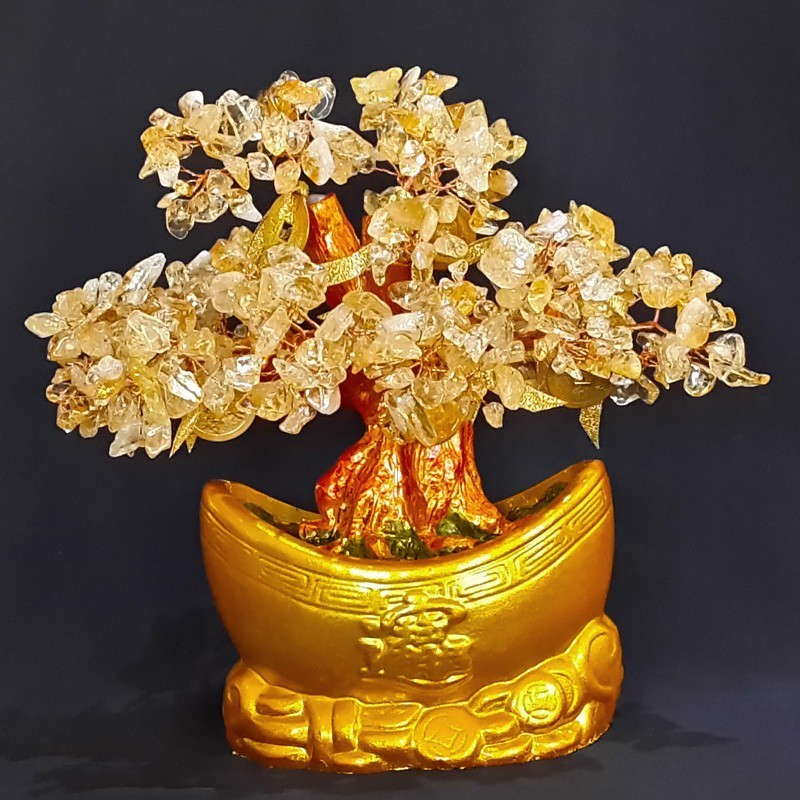 Feng Shui Bonsai Citrine Crystal Gemstone Tree with INGOT Base