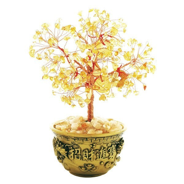 Citrine Tree with Wealth Bowl for Great Money Luck