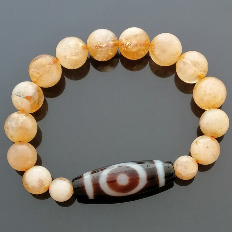 Authentic Tibetan Agate Constellation Dzi Bead with Citrine Bracelet
