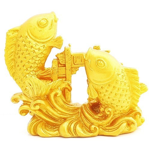 Double Carps Crossing Dragon Gate - Gold