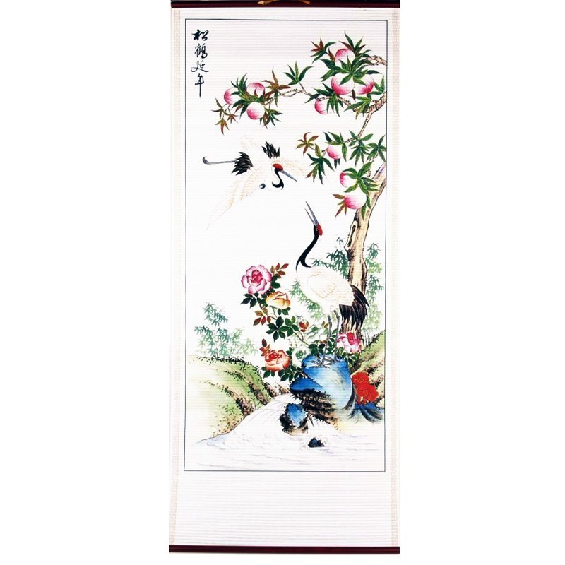 A Pair Of White Cranes Scroll