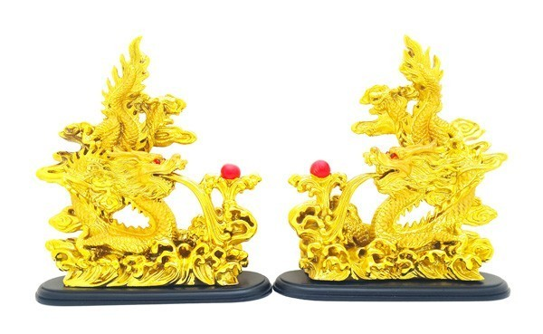 Double Golden Dragons Grasping a Pearl