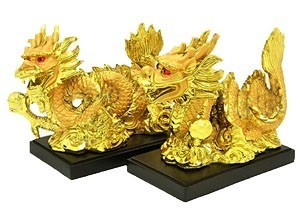 Double Golden Dragons Grasping Pearl