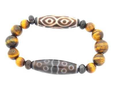 Dragon Eye and 11-Eyes Dzi with Tiger Eye Bracelet
