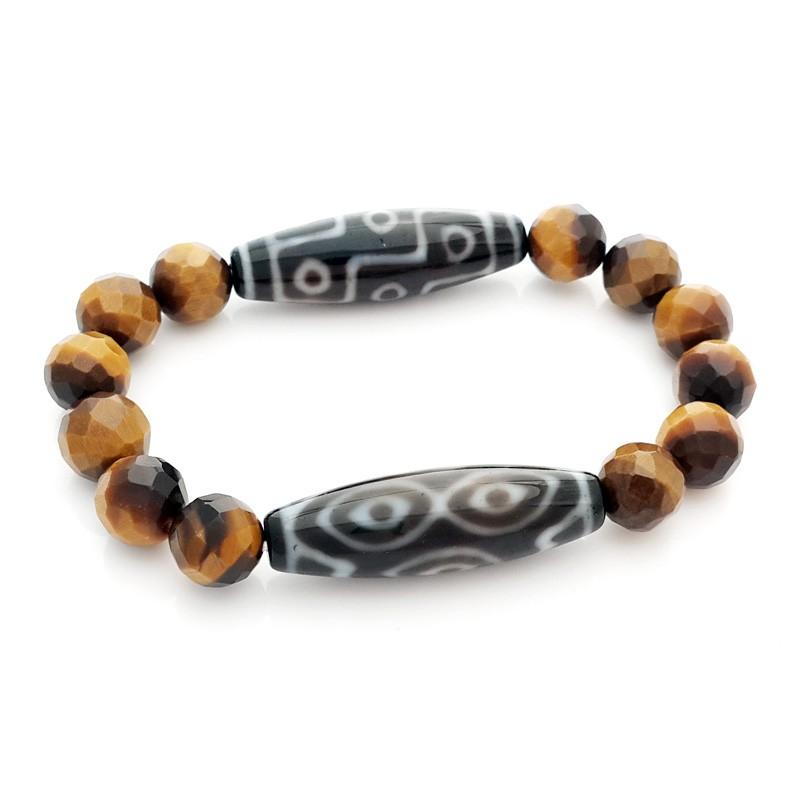 Dragon Eye and Tibetan 9-Eyed Agate Dzi Beads Bracelet