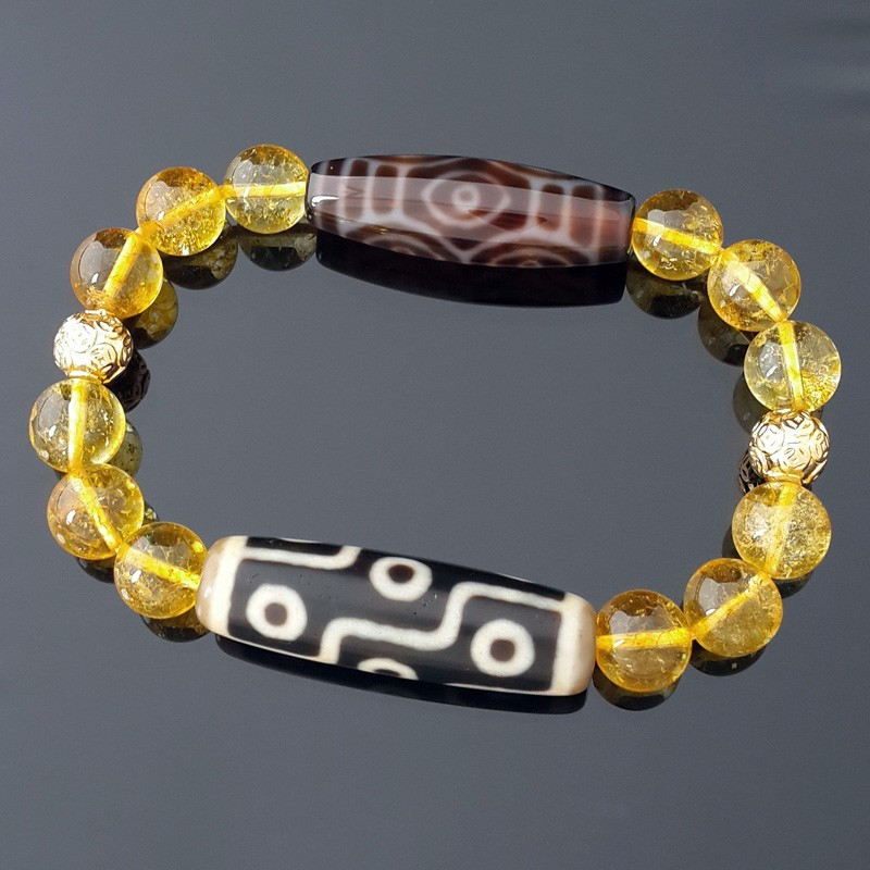 Authentic Tibetan Dragon Eye and OLD 9 Eyes Dzi Beads with Citrine Bracelet