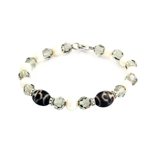 Bodhi Tree Dzi with Cultured Pearl and Swarovski Beads Bracelet