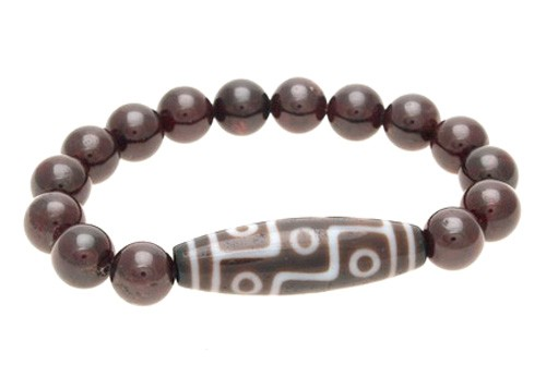9 Eyed Dzi Bead with 10mm Natural Red Garnet Bracelet