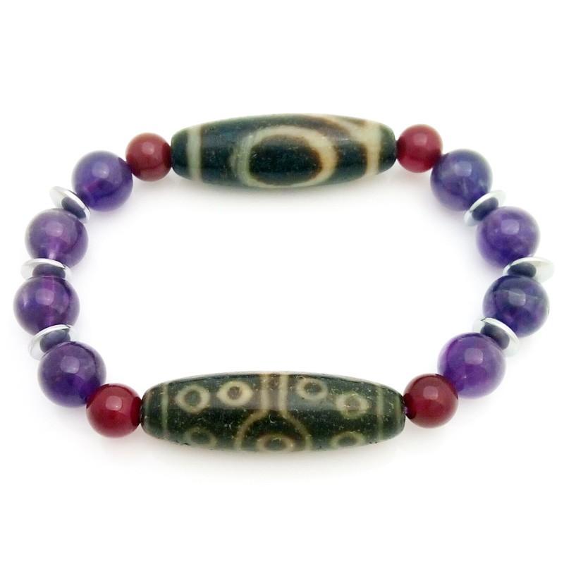 Feng Shui Old Agate dZi Beads Combo Bracelet for Career Luck