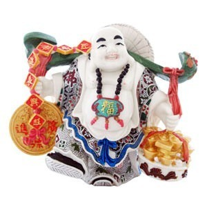 Happy Buddha carry a Gold Ingots and Coins
