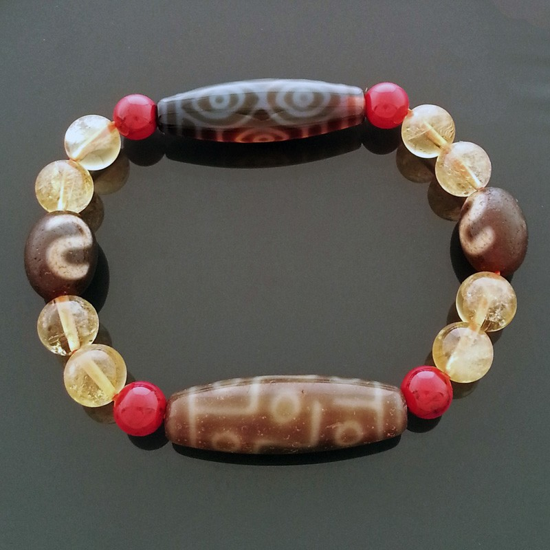 Authentic Tibetan Dragon Eye Money Hook and OLD 9 Eyed dZi Beads Bracelet for Wealth and Protection