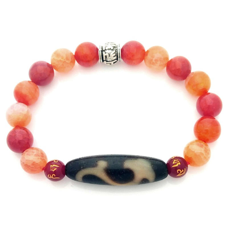 Feng Shui Tibetan OLD Agate RU YI dZi Bead Bracelet for Authority and Auspiciousness