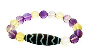 Fortune Wave Dzi with Ametrine Beads Bracelet