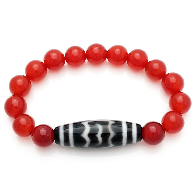 The Huge Fabulous Bird Dzi Bead with Red Agate Bracelet
