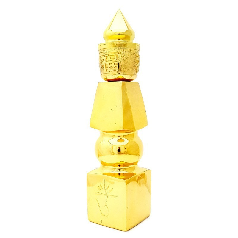 Gold Plated 8 Inches Five Element Pagoda with Fuk Luk Sau