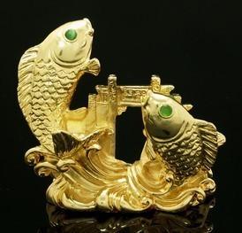 Golden Double Carps Crossing Dragon Gate