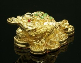 Golden Three Legged Toad on Bed of Coins