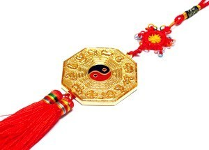 The Golden Lucky Five Element with Eight Trigrams Amulet