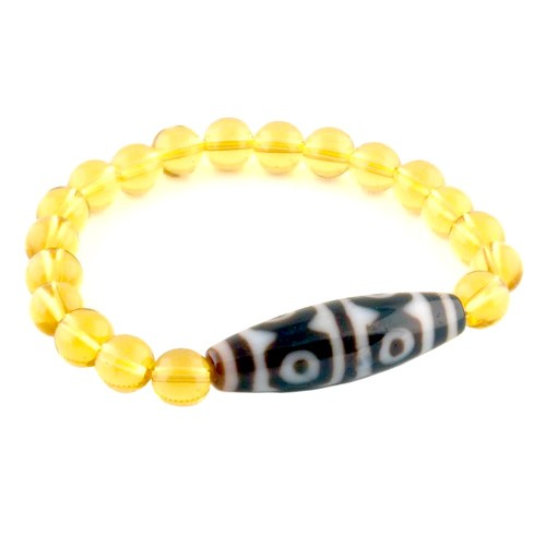 The Golden Tiger Tooth 6 Eyed DZi Bead with 8mm Smooth Citrine Bracelet