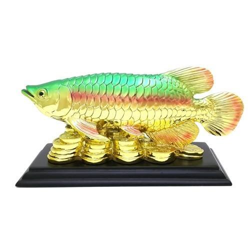 Golden Arowana on a Bed of Coins