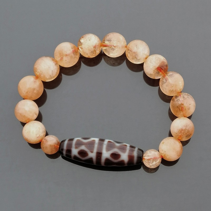 Authentic Tibetan Agate Dzi Bead Golden Dorje with Citrine Bracelet