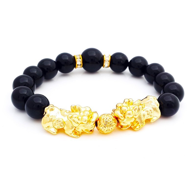 Feng Shui Golden Double Pi Yao Lucky Charms Bracelet