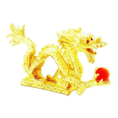 Gold Plated Feng Shui Dragon Grasping a Pearl Sculpture