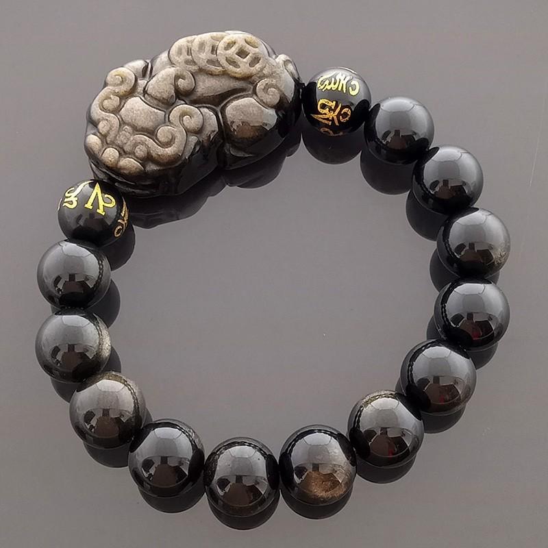 Feng Shui Golden Obsidian Pi Yao Amulet Bracelet