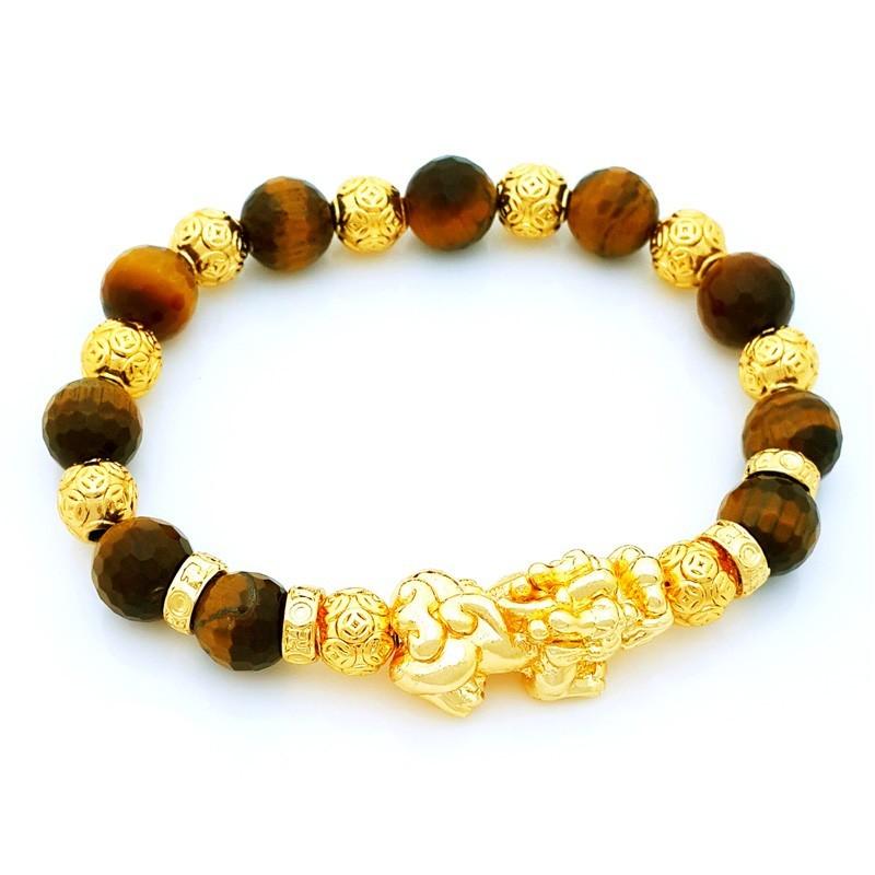 Golden Pi Yao Amulet with Tiger Eye Crystals Feng Shui Bracelet