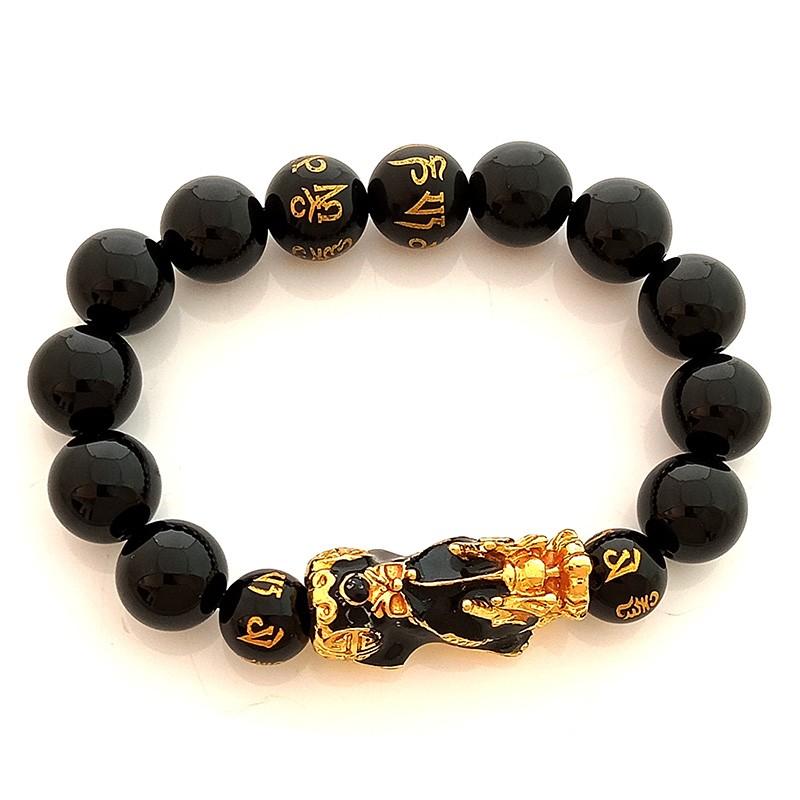 Feng Shui Pi Yao Pi Xiu Good Luck Amulet with Onyx Bracelet